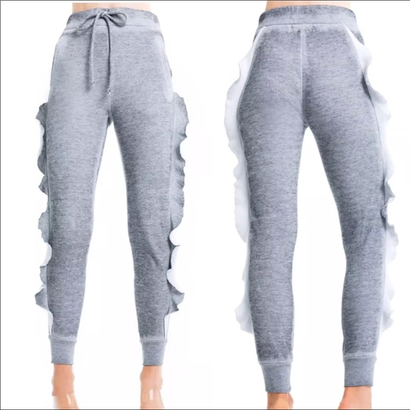 M /& L Gray Color Sizes Wildfox Women/'s Sweatpants Norelle Ruffle Skinny Pant